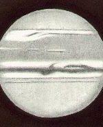 Jupiter, drawn by Ken Clarke, as viewed through a 10″ F4.3 Reflector, 308x. w1=199.7deg, w2=109.4deg, seeing 2-3/5, at 20:15 UTC on March 29th, 1991