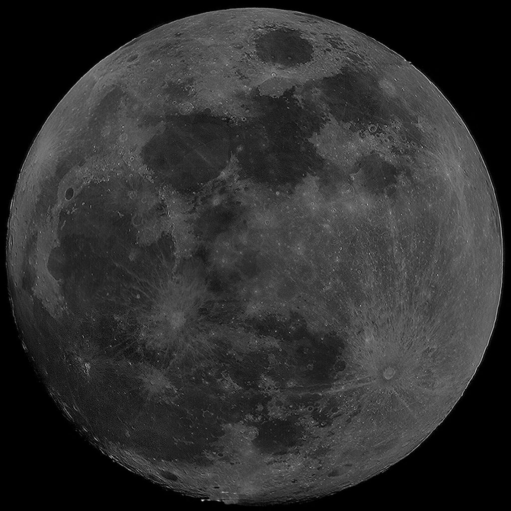 """Full Moon composite image, by Charlie Jordan, imaged on 23rd November 2012. 10 frames mosaiced together using Microsoft ICE. 8"""" Reflector and a Samsung CCTV Camera."""