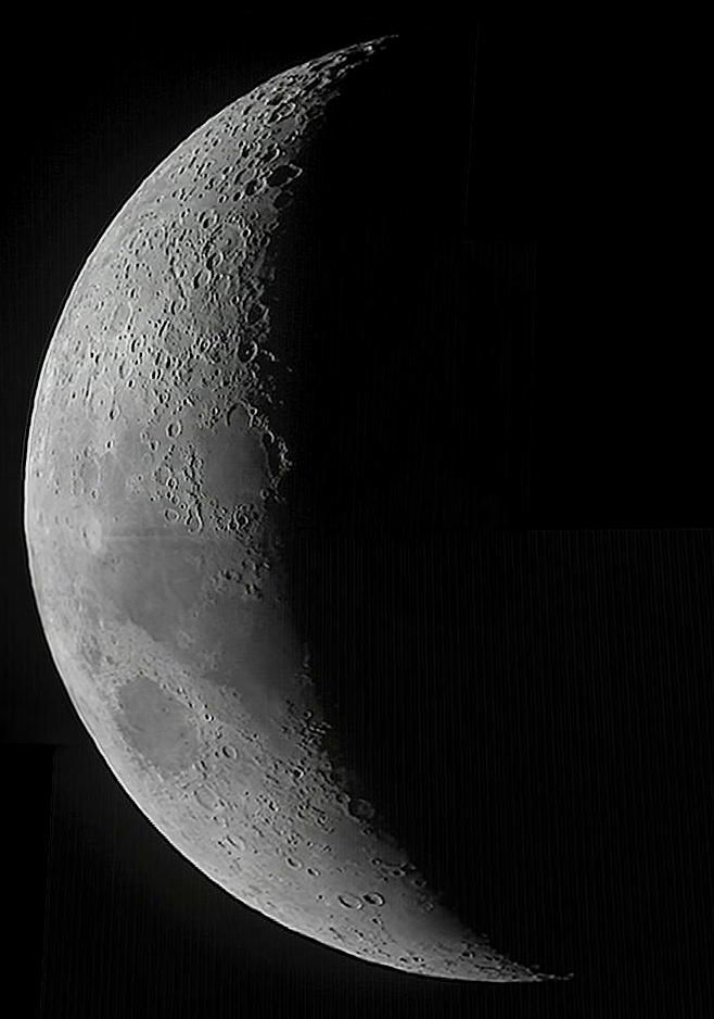 The Moon composite image, by Charlie Jordan, imaged on 28th January 2012. Three pictures stitched together.