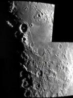 "The Moon composite image, by Charlie Jordan, imaging date on or before 8th February 2011. Charlie says: Two photos stitched together. I used an 8"" reflector with modified Samsung SDC-435 cctv camera plus 2x Barlow lens."
