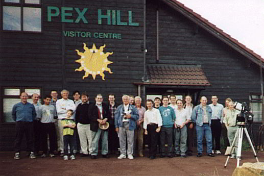 Members of Liverpool AS and visitors from the North East Astronomical Societies outside Pex Hill (now the Leighton Observatory) on 22nd August 1998