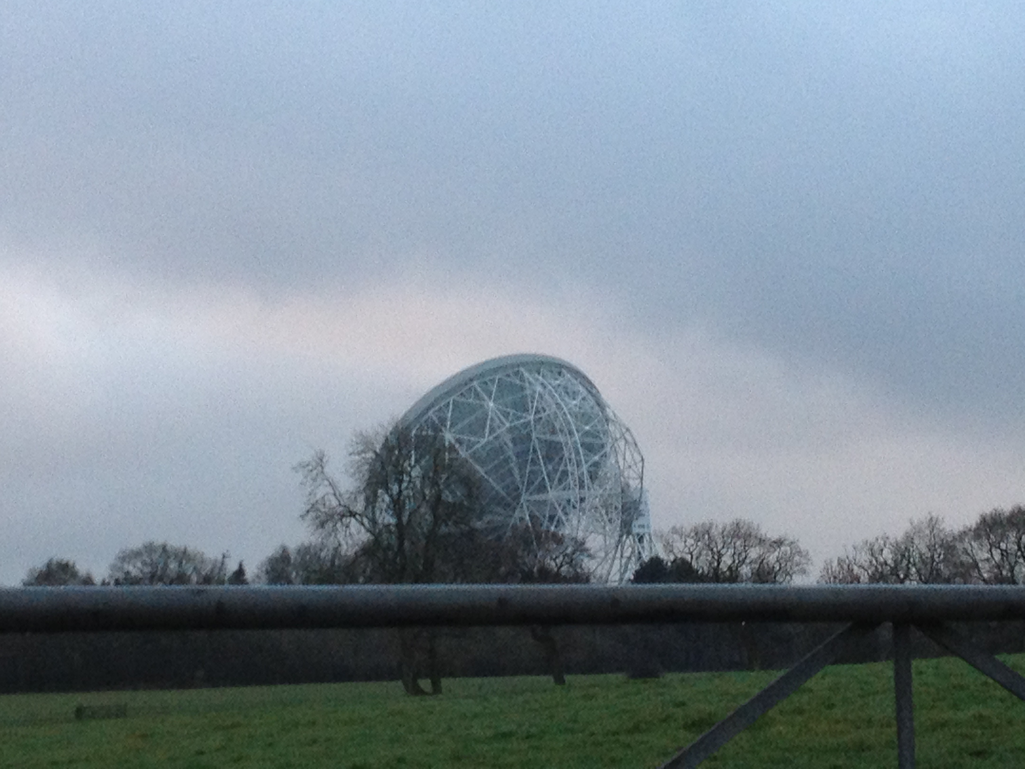 The Lovell Telescope (facing away from the camera) at Jodrell Bank. Taken as arriving at BBC Stargazing Live 2013, Wednesday 9th January 2013