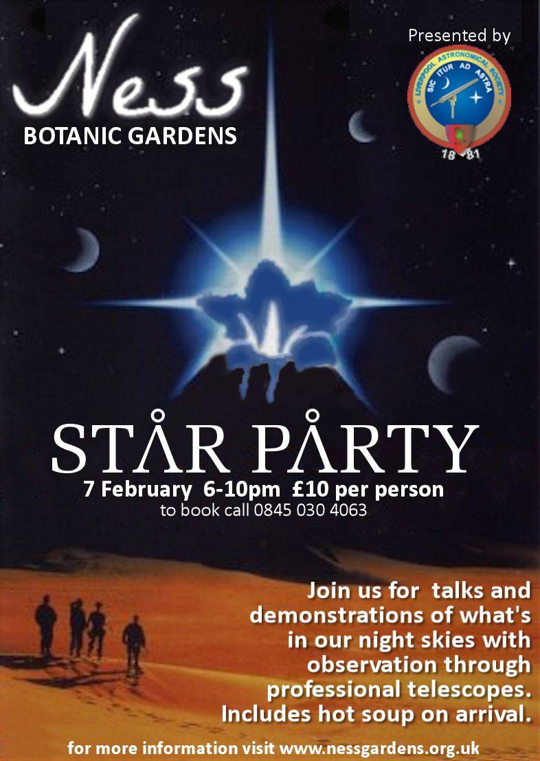 Flyer: Ness Gardens Star Party, Thursday 7th February 2012