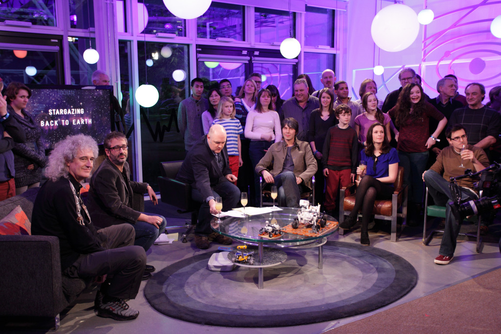 Image shows Dr. Brian May, David Baddiel, Dara O'Briain, Professor Brian Cox, Dr. Lucie Green and Dr. Lewis Dartnell during the broadcast of the first episode of the third series of 'Stargazing Live-Back to Earth' at Jodrell Bank.