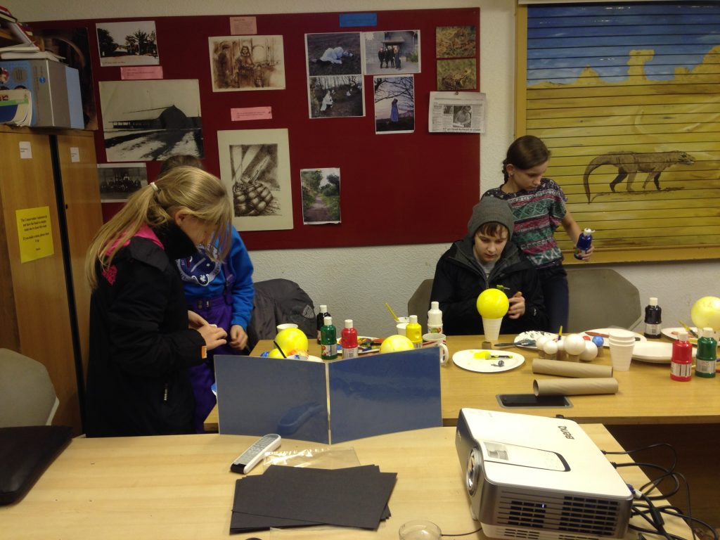 Members of the LAS Youngsters Club making a Solar System – 2013