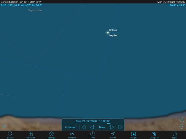 An image from the SkySafari planetarium software showing the positions of the planets Jupiter and Saturn in the south-south-western sky as seen from the Merseyside region at 16:00 GMT on December 21st 2020